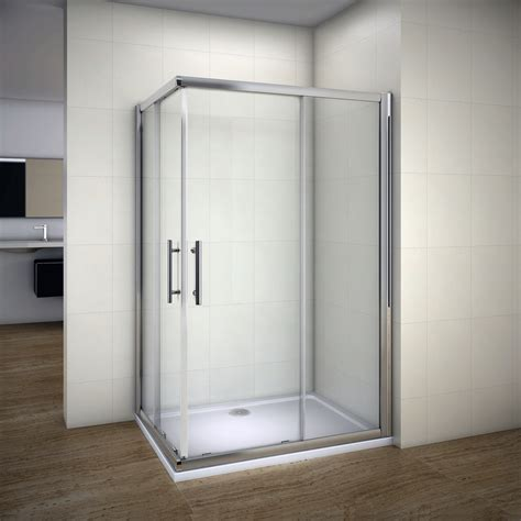 Shower Enclosure Sliding Door 1850mm Sliding Shower Enclosure 6mm Glass Corner Entry Cubicle Tray Waste Ebay