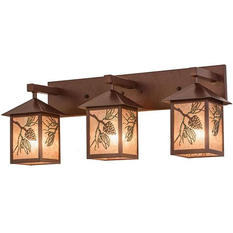 Cabin Vanity Lights Pinecone Rustic Vanity Light Cabin Place