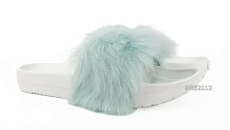 ugg royale baby blue fluffy fur  slippers womens