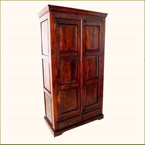 closet armoire furniture mahogany rustic wood storage drawers armoire wardrobe