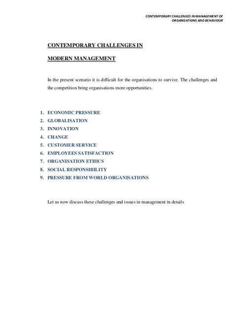 contemporary challenges contemporary challenges in management