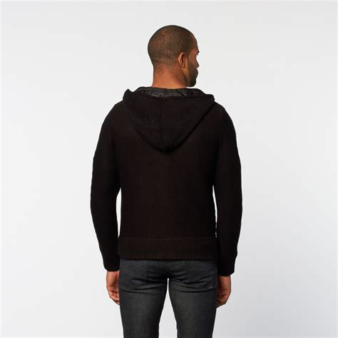 zip up cable knit sweater hooded cable knit zip up sweater black m fashion