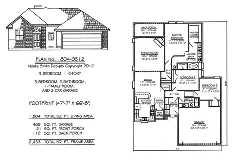 Narrow 1 Story Floor Plans 36 To 50 Feet Wide House Plans 3 Bedroom 2 Bath Car Garage