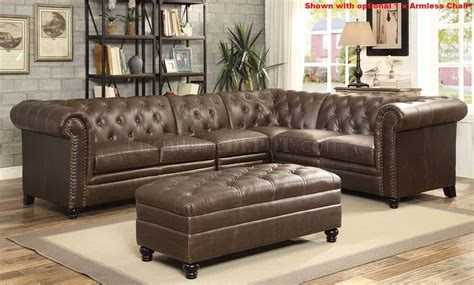 coaster leather sectional roy sectional sofa 500268 brown bonded leather match by