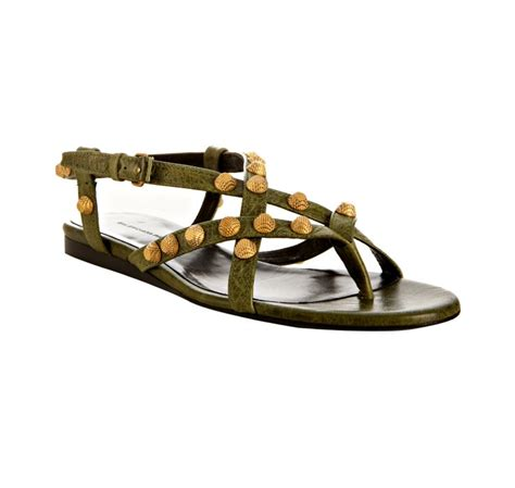 balenciaga olive studded flat sandals in green olive lyst