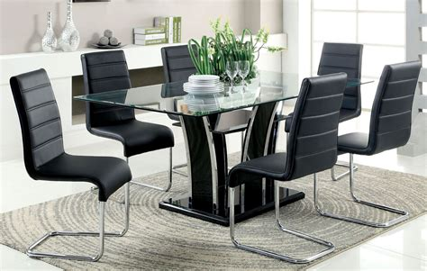 glenview black glass top dining room set