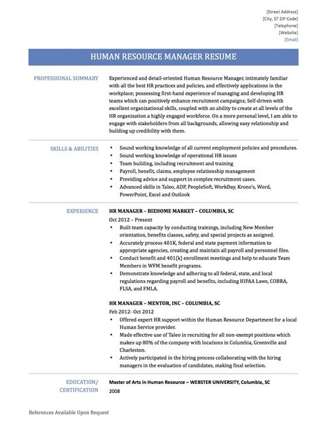 resume format word for hr human resources description for resume resume ideas