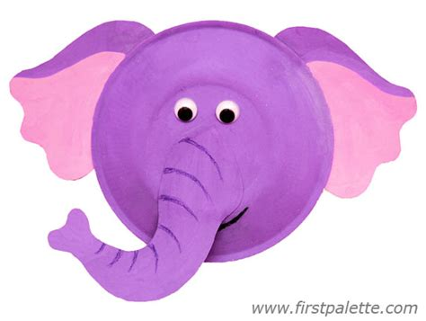 Elephant Paper Plate Craft - paper plate animals craft crafts firstpalette