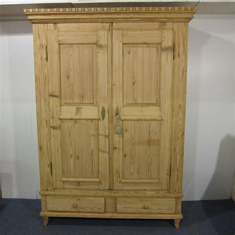Antique Wardrobe With Drawers by Large Pine Wardrobe With 2 Bottom Drawers
