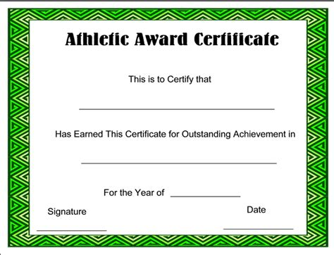 award certificate template for schools and sport clubs free download athletic award certificate sle with green
