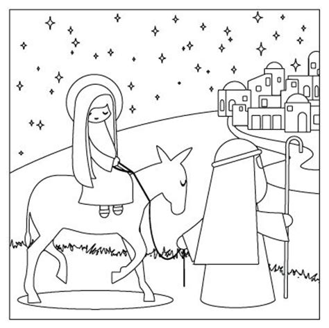 nativity coloring pages in spanish mary and joseph travel to bethlehem travel to bethlehem