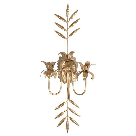 Leaf Candle Sconce regency antique gold leaf metal candle sconce kathy kuo home