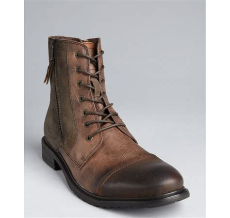 kenneth cole reaction hit boot kenneth cole reaction brown leather and faux suede hit