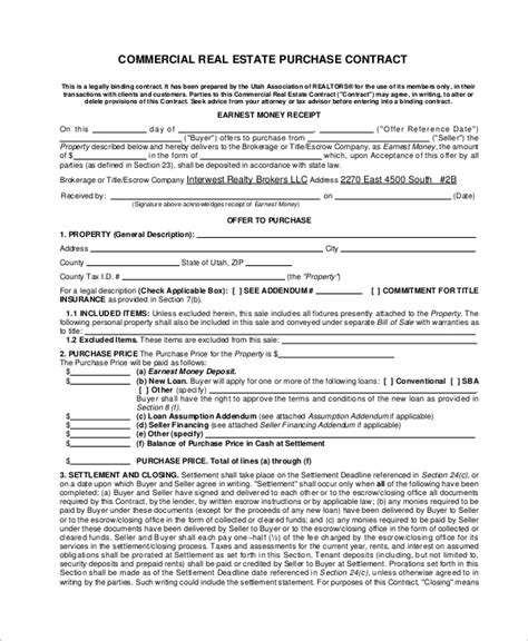 7 Sle Commercial Purchase Agreements Sle Templates Commercial Real Estate Contract Template