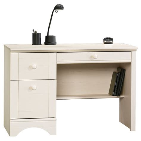 sauder computer desk with keyboard tray harbor view 3 computer desk antiqued white