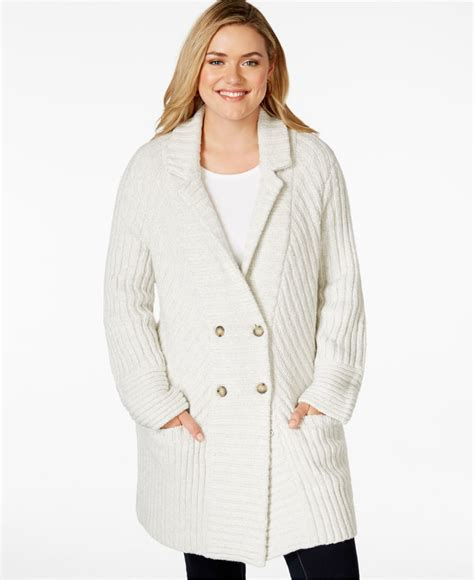plus size knit sweater lucky brand plus size rib knit sweater coat in lyst