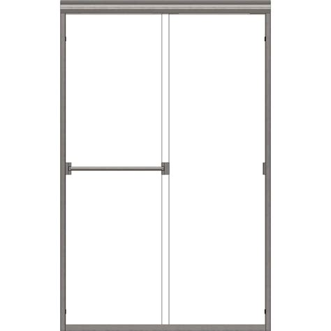 Basco Sliding Shower Doors Basco Classic 47 In X 70 In Semi Frameless Sliding Shower Door In Brushed Nickel With Obscure