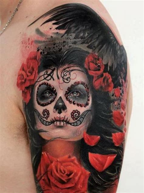 sugar face tattoo designs sugar skull sleeve sugar skull sleeve tattoos just