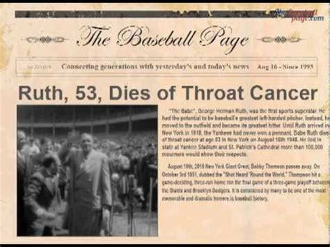 Pdf Why Did Ruth Become A Baseball Player by Ruth Dies At Age 53