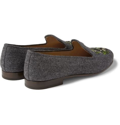 stubbs and wootton slippers stubbs wootton embroidered flannel slippers in gray for