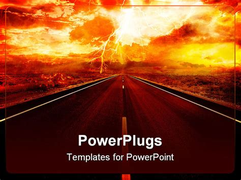 volcano powerpoint template end of the days sky with lighting powerpoint template