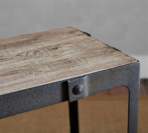 reclaimed wood console table clint reclaimed wood console table pottery barn
