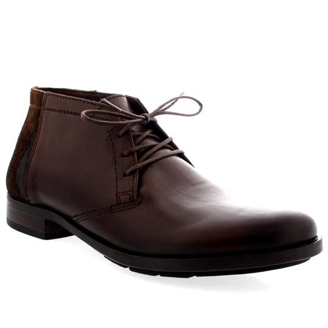 mens fly peet leather smart lace up work office