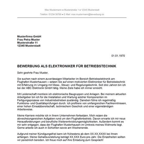 Bewerbung Anschreiben Vorlage Elektroniker bewerbung als elektroniker f 252 r betriebstechnik