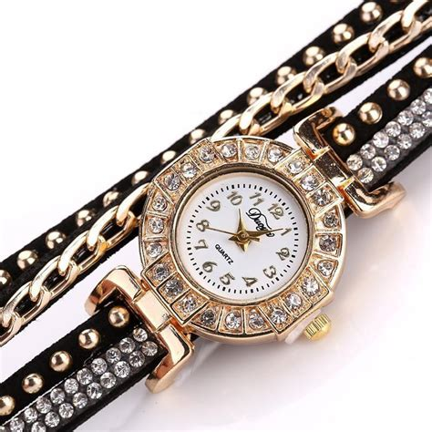 Jam Tangan Studded stainless steel floral studded wrap bracelet ancient explorers