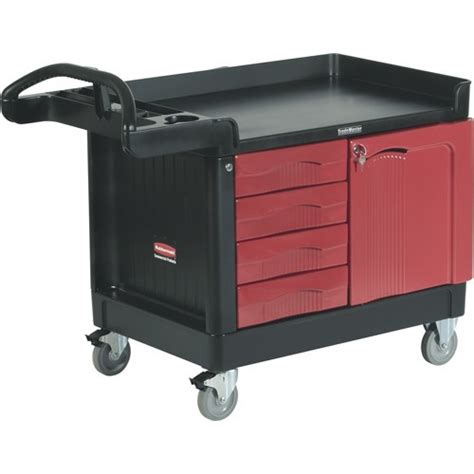 rubbermaid trademaster cart with cabinet rubbermaid 4533 trademaster cart with 4 drawers and 1