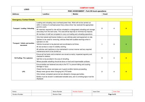Forklift Truck Risk Assessment Template Fork Lift Truck Use Risk Assessment Exle To Download