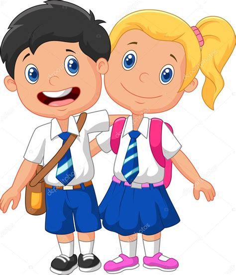 imagenes de niños alegres animados ni 241 os de la escuela de dibujos animados vector de stock