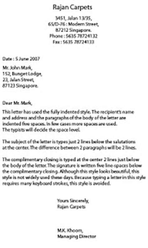 Business Letter Format Indent Business Letter Format Hanging Indent Sle Business Letter