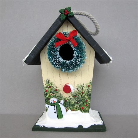 christmas birdhouse birdhouse painting pinterest