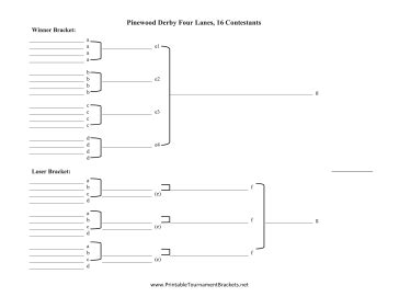 Pinewood Derby Race Spreadsheet by Printable Elimination Pinewood Derby Four Lanes