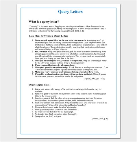 Query Letter Template 7 Formats Sles Exles Query Letter Template