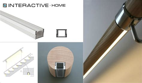 Banister Railing Installation Led Strip In A Profile Recessed In Stair Railings