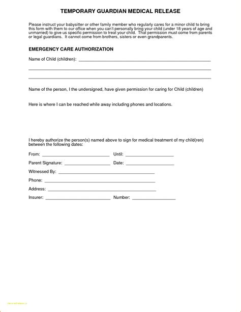 Free Printable Child Medical Release Free Consent Template