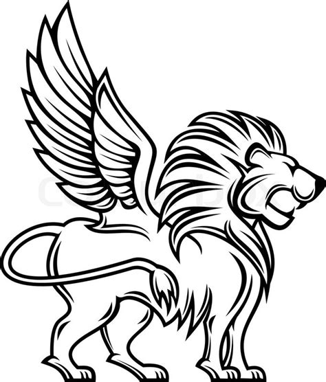 isolated lion with wings for heraldry design stock