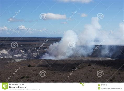 Stelan Pkumy steam plume rising from active volcano stock photos image 27997643