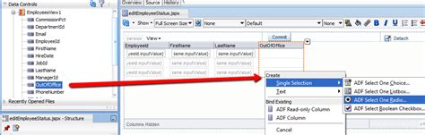 table layout manager java adf 11g selectoneradio in table layout amis oracle and