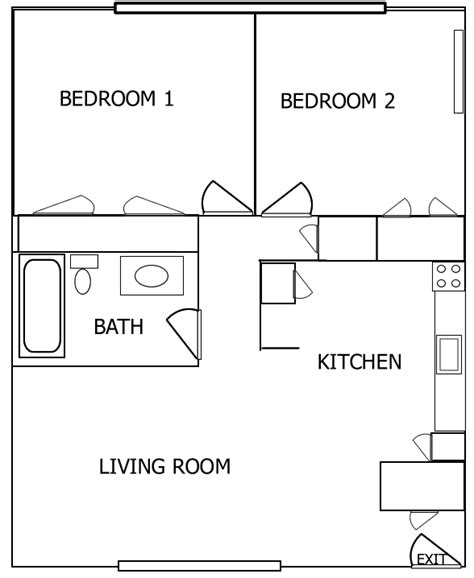 2 Room Flat Floor Plan by Lalo