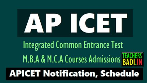 Icet Form For Mba by Ap Icet 2018 Notification Schedule Mba Mca Entrance