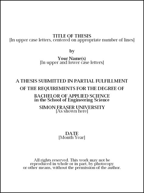 title page dissertation thesis cover page exle