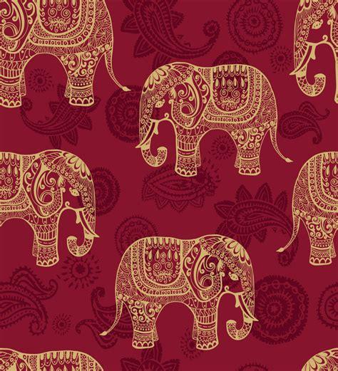 print  wall paper indian elephants pvc  wallpaper