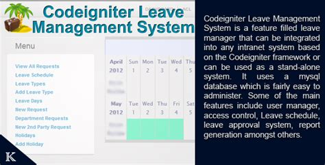 sle of codeigniter project codeigniter leave manager by kevikidy codecanyon