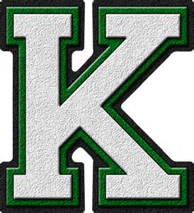 College With Letter K Presentation Alphabets White Green Varsity Letter K