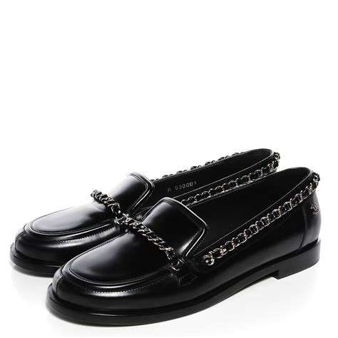 chanel black loafers chanel leather chain loafers 36 5 black 94513