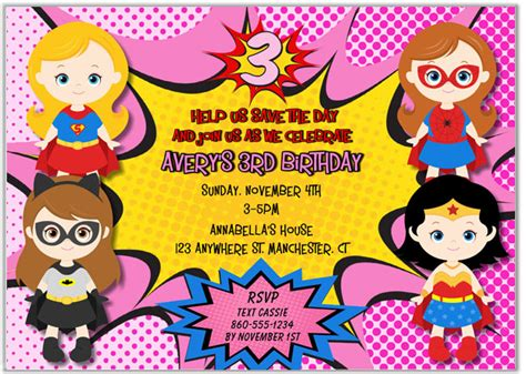 superhero girl birthday party invitations kids birthday