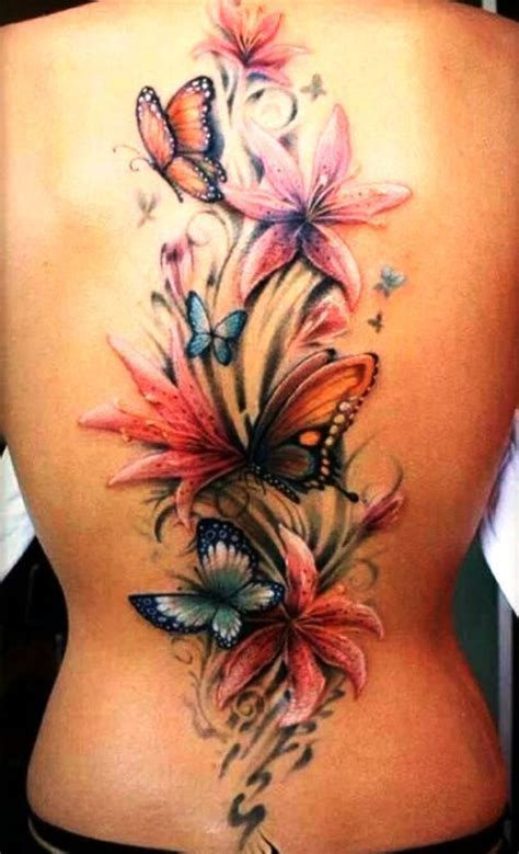 tattoo designs of butterflies and flowers 3d butterfly and flower tattoos on back 3d butterfly